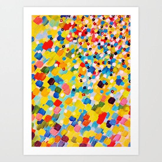 SWEPT AWAY 2 - Vibrant Colorful Rainbow Mango Yellow Waves Mermaid Splash Abstract Acrylic Painting Art Print