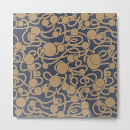 Navy and Gold Lace Dots Pattern Metal Print