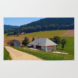 Hiking trail, farm house and scenery | landscape photography Rug