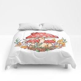 Watercolor Mushrooms Comforters