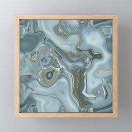 Precious Teal Blue Gemstone Agate Collage Framed Mini Art Print