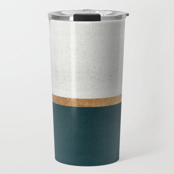 Deep Green, Gold and White Color Block Travel Mug