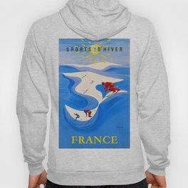 Vintage Winter Sports in France Travel Hoody