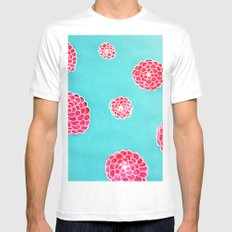 Pink flowers in blue White Mens Fitted Tee MEDIUM