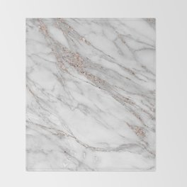 Pink Rose Gold Blush Metallic Glitter Foil on Gray Marble Throw Blanket