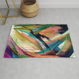Brave: A colorful and energetic mixed media piece Rug