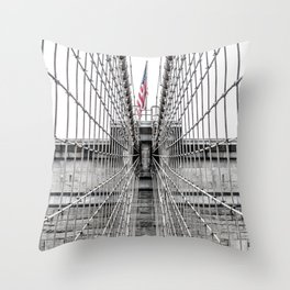 The Brooklyn Bridge and American Flag Throw Pillow