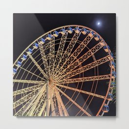 Ferris Wheel Meets the Moon Metal Print