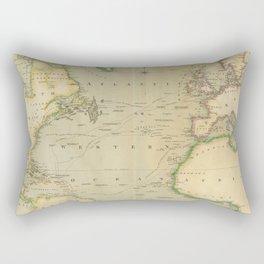 Vintage Map of The Atlantic Ocean (1817) Rectangular Pillow