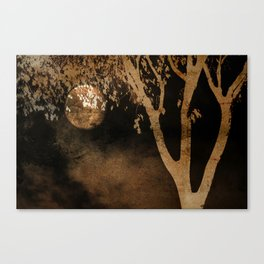 Golden Moon and Tree Canvas Print