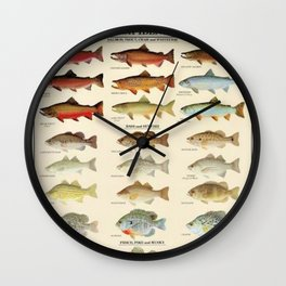 Illustrated Eastern Game Fish Identification Chart Wall Clock