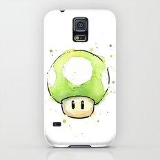 1UP Green Mushroom Painting Mario Gaming Geek Videogame Art Slim Case Galaxy S5