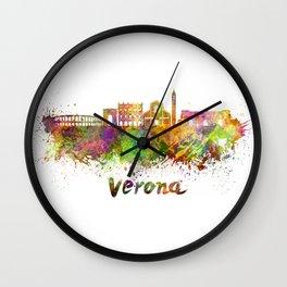 Verona skyline in watercolor Wall Clock