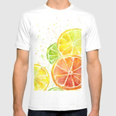 Fruit Watercolor Citrus X-LARGE White Mens Fitted Tee