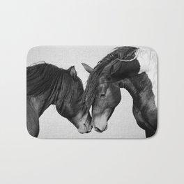 Horses - Black & White 4 Bath Mat