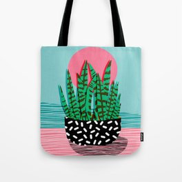 Edgy - wacka potted indoor house plant hipster retro throwback minimal 1980s 80s neon pop art Tote Bag