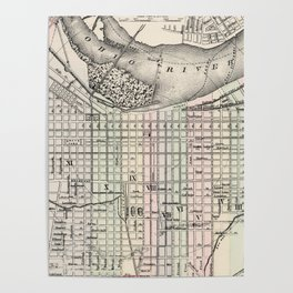 Vintage Map of Louisville Kentucky (1884) Poster