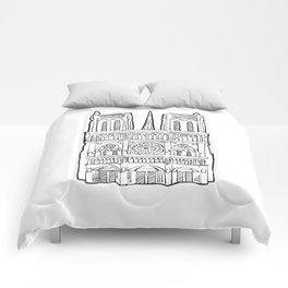 Notre Dame facade illustration. Comforters