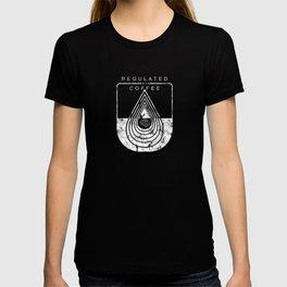 Caffeine on the Brain // B&W Regulated by Coffee Espresso Drip Distressed Living Graphic Design T-shirt