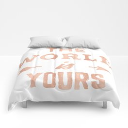 The World is Yours Pink Rose Gold Quote Comforters