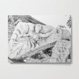 European City Ruins | Ephesus Carved Statue Rock Black and White Muted Gray Historical Wanderlust Metal Print