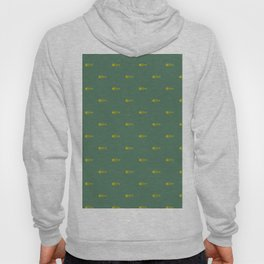 Mint with yellow fish skeleton pattern Hoody