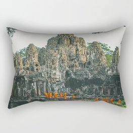 Unidentified Buddist monks from Thailand at one of the temple of Bayon Temple .Buddhism is currently Rectangular Pillow