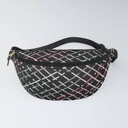 pastel grid pattern doodle on black Fanny Pack