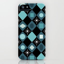 Mid Century Modern Black & Turquoise Diamonds iPhone Case
