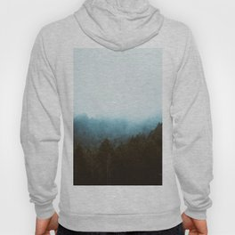 Landscape Photography Misty Pine Forest Blue Hues Hoody
