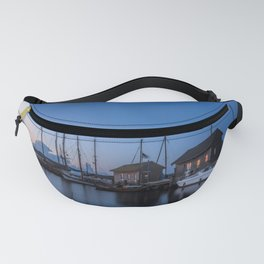 Blue hour at harbour I - Ocean Summer Night Boats Fanny Pack