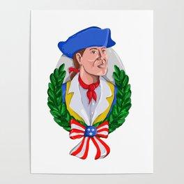 American Patriot Wreath Watercolor Retro Poster