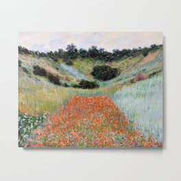 Poppy Field in a Hollow near Giverny by Claude Monet Metal Print