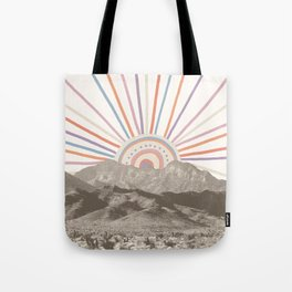 Summerlin Mountain // Abstract Vintage Mountains Summer Sun Vibe Drawing Happy Wall Hanging Tote Bag