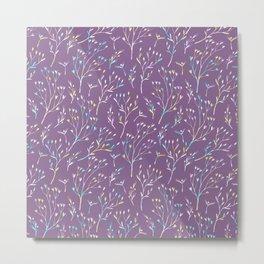 Hand painted violet pink teal watercolor floral Metal Print