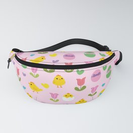Easter - chick and tulips pattern Fanny Pack