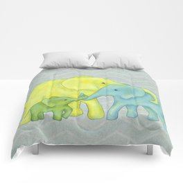 Elephant Family of Three in Yellow, Blue and Green Comforters