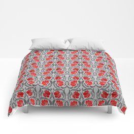 William Morris Pimpernel, Silver Gray and Red Comforters
