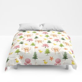 Pastel pink floral brown funny monkey yellow duck pattern Comforters