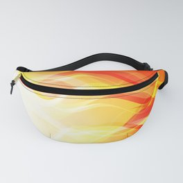 Theme of fire for the banner. Bright red and orange glare on a gentle background for a fabric or pos Fanny Pack