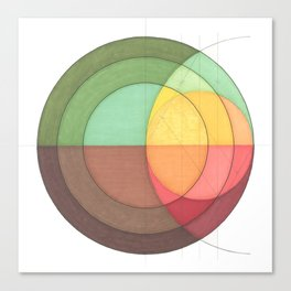 Concentric Circles Forming Equal Areas Canvas Print