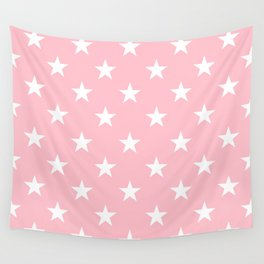 Stars (White/Pink) Wall Tapestry