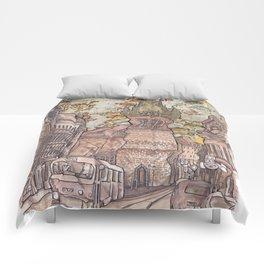 Prague Tram Comforters