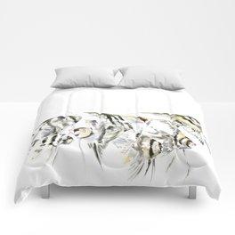 Fish Zebra Design, Angelfish aquarium design, underwater scene, black and white Comforters