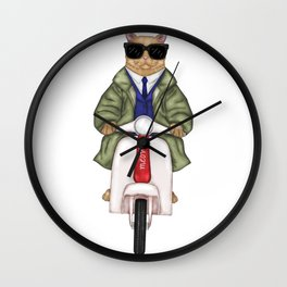 Cat on a moped Wall Clock