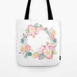 Spring Bouquet Wreath Floral Print Tote Bag