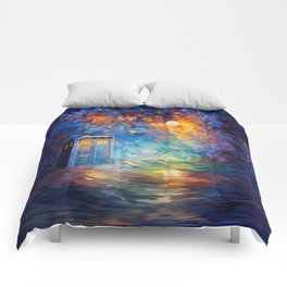 Tardis Doctor Who Rainbow Abstract Comforters