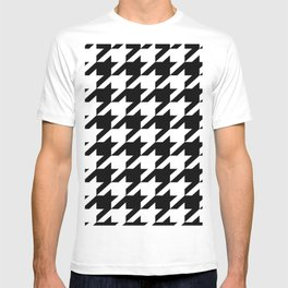 retro fashion classic modern pattern black and white houndstooth T-shirt