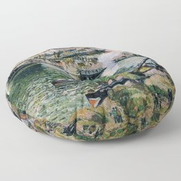 Pont Boieldieu in Rouen, Rainy Weather by Camille Pissarro Floor Pillow
