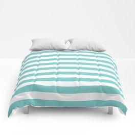 Horizontal Aqua Stripes Comforters